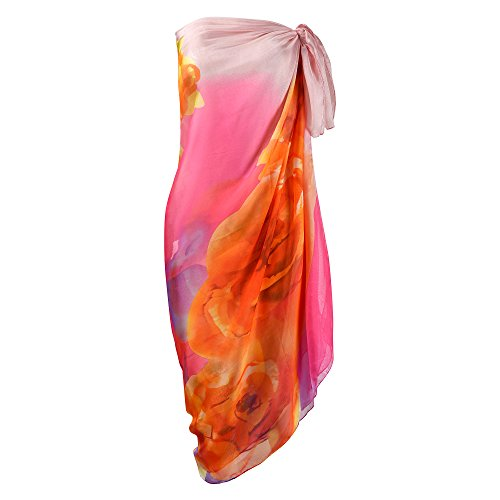 Makroyl Womens Sexy Bohemian Floral Beach Cover up Sarong Wrap Swimsuit Beachwear (Pink)