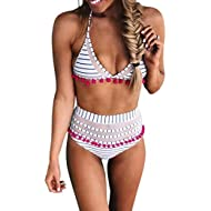 Womens High Waist Two Pieces Bikini Set Striped Tassel Swimsuit