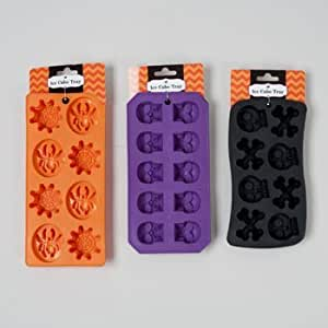 ICE CUBE TRAY PLASTIC HALLOWEEN 3AST ICE SHAPES/BLK/ORANGE/PURP, Case Pack of 48