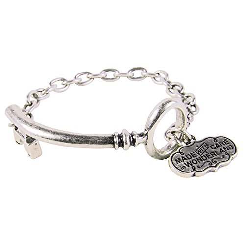 (Disney Couture Alice in Wonderland Curved Key Bracelet - White Gold Plated)