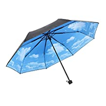 Kaimao Lightweight Blue Sky and White Clouds Pattern Sun Shade Umbrella Parasol for Ladies , Compact Folding , UPF > 50 + , UVA < 5% - Outside Black