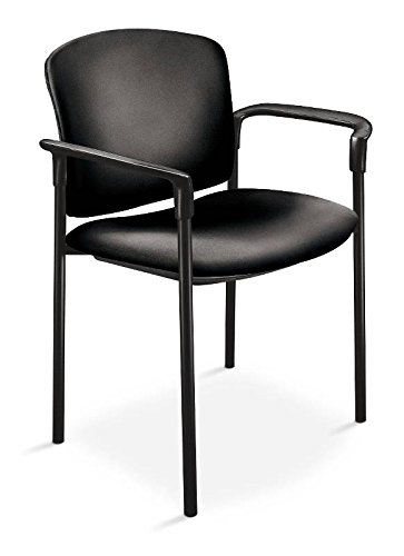HON 4071EE11T Pagoda 4070 Series Stacking Arm Chairs, Black Vinyl, 2 per Carton