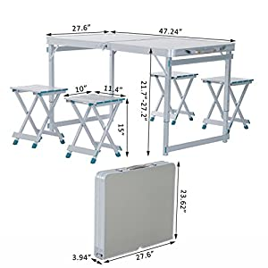Outsunny 4' Portable Folding Outdoor Picnic Table w/ 4 Seats - Silver