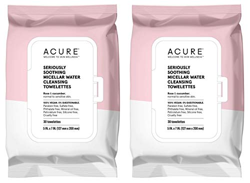 Acure Seriously Soothing Micellar Water Towelettes with Rose and Cucumber, 30 Towelettes,