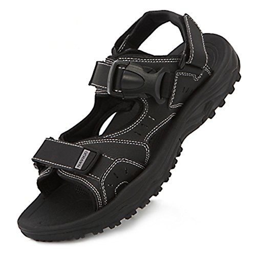 Slippers Big Unisex Beach Sandals Shoes Sports Leather Leisure Comfortable Yards Junsi Black a6wRxqUE