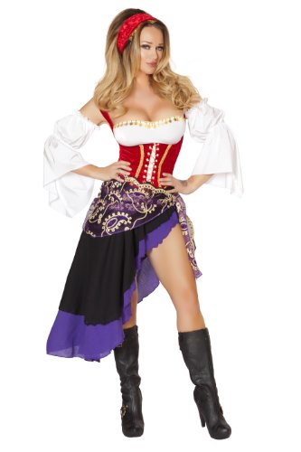 Sexy Medieval Costumes - Roma Costume Women's 6 piece Sexy Gypsy Maiden, Red/Black/Purple, Large