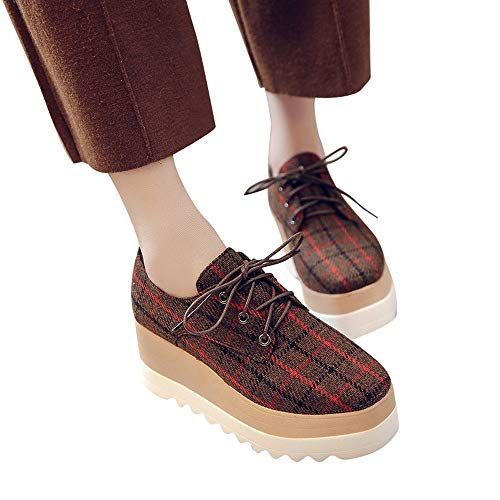 Single sole Grid High 37 boots Alla Le Grande La stivali Promozione Studenti Da Shoes Scarpe Donne Aumentano Donna Stivali Stivaletti Donna Moda 5 Casual Caffè Stringate Eu ZnaTg