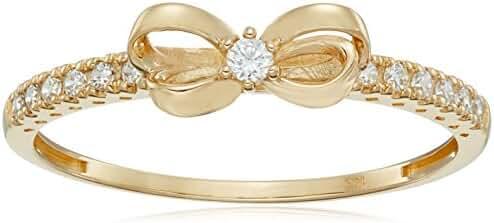 10k Gold Swarovski Zirconia Danity Bow Ring