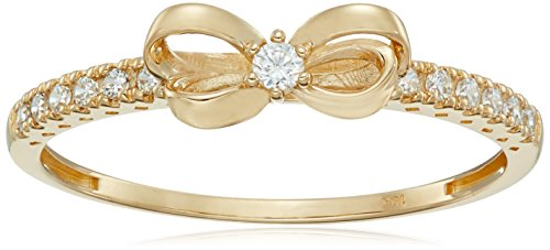 10K Gold Dainty Bow Ring set with Round Cut Swarovski Zirconia (.216 cttw), Size 6 (10k Jewelry Set)