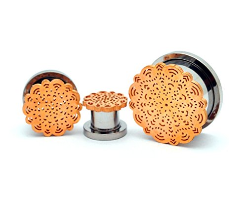 2g Body Jewelry (Pair of 316L Steel Screw on Plugs with Rose Gold Flower Top (PS-135) - Sold as a Pair (2g (6mm)))