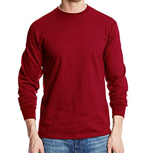 Price comparison product image BSGSH Men's Solid Basic Casual Slim Fit Athletic Crew Neck Long Sleeve T-Shirt Top (L, Red)