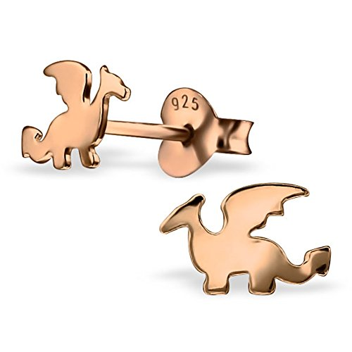 American Dragon Rose (Cute Dragon Silver Small Earrings Girls Post Studs Stering Silver 925 (Rose Gold plated))