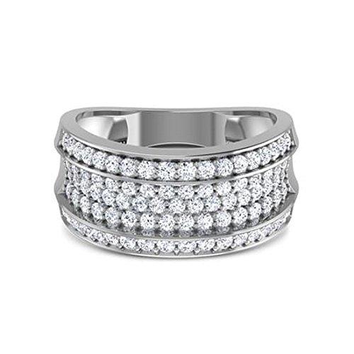 18K Or Blanc, 0,88carat Diamant Taille ronde (IJ | SI) en diamant