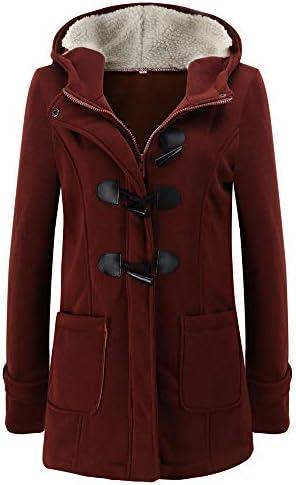 Women Warm Vintage Buckle Hooded Long Sleeve Jacket Long Outerwear Pocket Coat