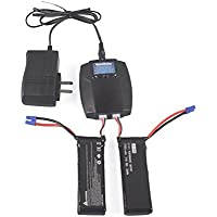 YouCute 2pcs 7.4V 2700mAh Battery and 1 to 2 charger for Hubsan H501S H501C X4 RC quadcopter drone spare parts (2 batteries +1 charger)