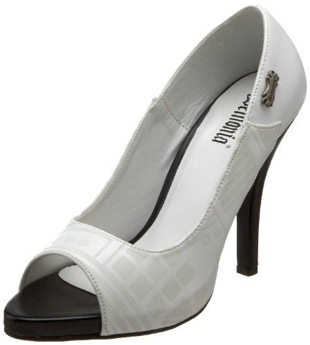- Demonia Women's 4 1/2 Inch Peep Toe Pump with Cyber UV Print (White Pu;6)