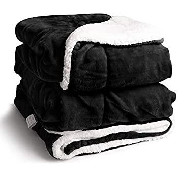 EDOW Faux Sherpa FlannelThrow Blanket, 600GSM Thickened Reversible Soft Fleece Blanket for Couch, Sofa, Bed. (Black, Throw(45