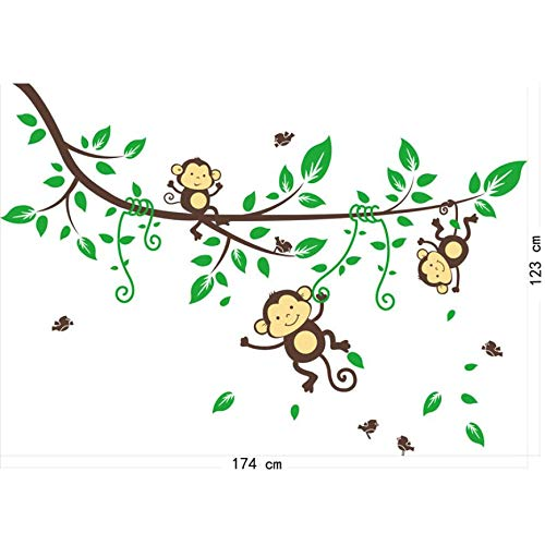 (1 piece Personality Jungle Monkeys Tree Wall Sticker Decal Kid Nursery Baby Decoration Decal)