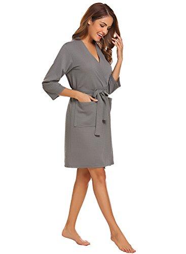 Lomon Robe For Women Lightweight Sleepwear Waffle Kimono Nightwear Loungewear Bathrobe