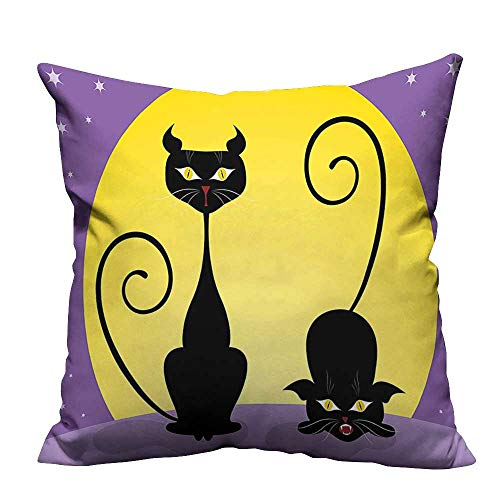 (YouXianHome Pillowcase with Zipper Two Black Kitties in Front of Full Moon Starry Night Halloween Image Violet Ultra Soft & Hypoallergenic (Double-Sided Printing) 16x16)