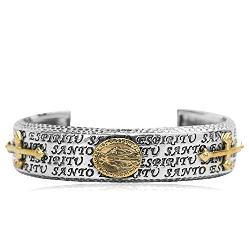 Daesar 925 Silver Bracelet For Women Cross Goddess Engraving Words Gold Bracelet by Daesar