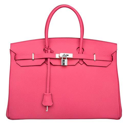 Ainifeel Women's Padlock Genuine leather 40CM Handbags (40cm(Silver hardware), Hot pink)