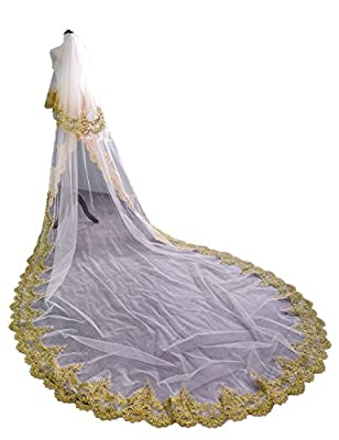 EllieHouse Women's 2 Tier Gold Sequin Lace Wedding Bridal Veil With Comb HD02