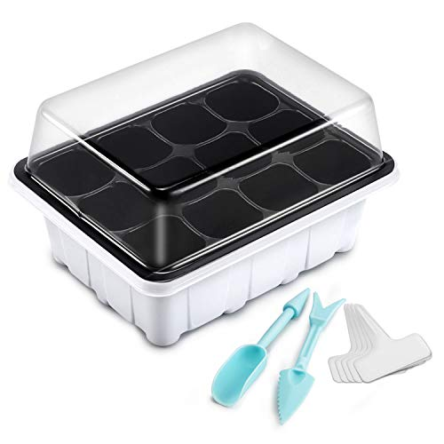 (Oak Leaf Seed Starter Tray 10 Packs, 12 Cells Seedling Starter Trays Kit Greenhouse Supplies Seed Trays with Labels and Tools)