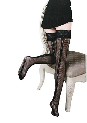 Killer Legs Women's Fishnet Thigh High Stockings 165YD002, Black, Back Seam Lace Up Stay-Ups