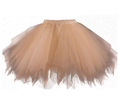 Kileyi Womens Tutu Costume Adult Party Dance Tulle Skirt Short Fluffy Petticoat Champagne -