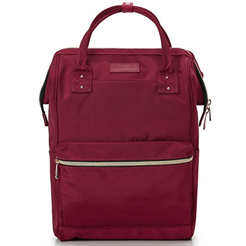 Medium Weight Trolley - Lily & Drew Casual Travel Daypack School Backpack for Men Women and Laptop Computer, with Doctor Style Top Opening (V4 Red Medium)