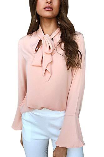 Casual Classique Branch Beau Femme Bowknot Office Shirt Longues avec Manche Large Uni Manches Chemise Printemps Pink Automne Elgante Tops Blouse Haut Fille nw8nx7r6