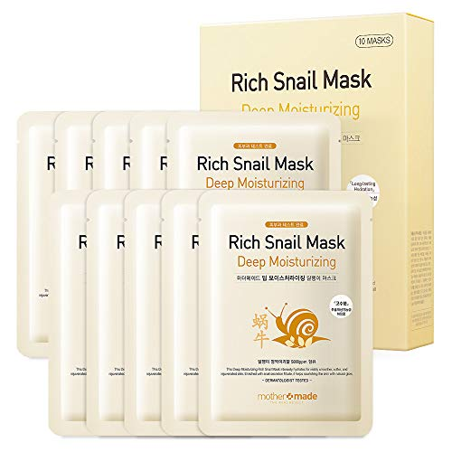 MOTHER MADE Deep Moisturizing Rich Snail Face Sheet Mask with Snail Secretion Filtrate 5,000 ppm, Pack of 10, for Hydrating, Anti-Aging