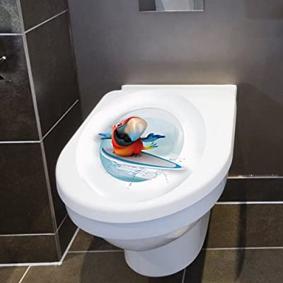 "Wandkings Toilet Lid Decal ""Surfing Parrot""- 11.8 x 15.7 Inch"
