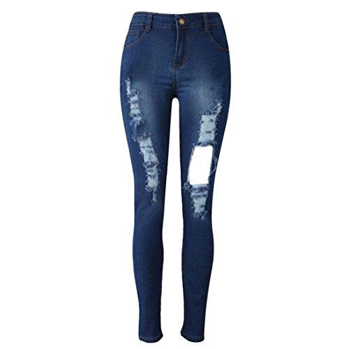 Rotos Tejanos Pantalones Mujer LHWY,Vaqueros Lápiz Pantalones Largos Delgados EláStico Jeans De Cintura Alta