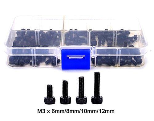 FPVKing M3 Machine Screws M3 x 6 mm 8 mm 10 mm 12 mm Hex Bolt Socket Head Cap Screws Kit Screws Assortment in a Storage Box Machine Screws ,12.9 Grade Alloy Steel(100pcs )
