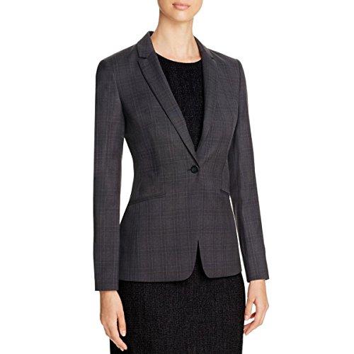 Price comparison product image BOSS Hugo Boss Womens Jabina2 Wool Checkered One-Button Blazer Black 6