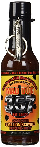Mad Dog 357 Collector's Edition Hot Sauce with Bullet Spoon Keychain 5 fl oz (Mega Death Sauce With Liquid Rage Scoville Units)