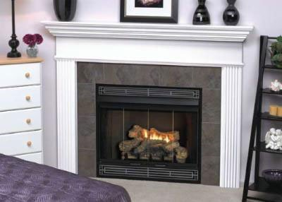 B-vent Fireplace System - Deluxe MV 34 inch Louver B-Vent Fireplace - Natural Gas