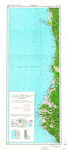 (YellowMaps Eureka CA topo map, 1:250000 Scale, 2 X 1 Degree, Historical, 1958, Updated 1967, 38.8 x 17.4 in - Tyvek)