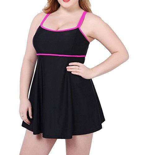 Eternatastic Women's Plus Size One Piece Swimsuit Cerise Mint Beachwear US16/50