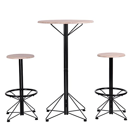 Sanfurney 3pcs Bar Table Set with 2 Round Stools with Footrest Round Table and Chairs Set Patio Balcony Kitchen Outdoor Garden Bar Set for 2 (Person Bar Set)