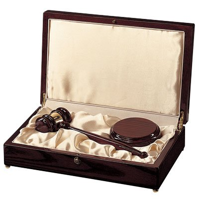 Customizable 10 Inch High Gloss Rosewood Finish Gavel and Block Deluxe Box, includes Personalization by Awards and Gifts R Us