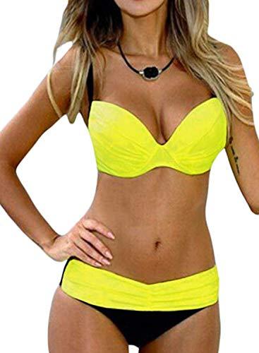Actloe Women Color Block Petite Bikini Swimsuit Two Pieces Swimwear Push up Bathing Suit Yellow Small ()
