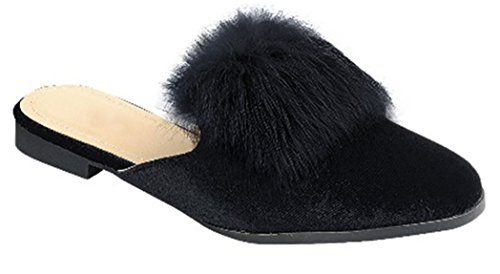Top Black Furry Pointed Toe Low Heel Slippers Women Mule Flat Hard Sole Backless Sexy Slip-On Cute Fun Bedroom Indoor Shoe Sandal for Sale Teen Girl Ladies (Size 8, Black) by TravelNut