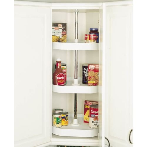 Plastic D-Shape Lazy Susans Independently Rotating Single, Two & Three Shelf Sets by Rev-A-Shelf