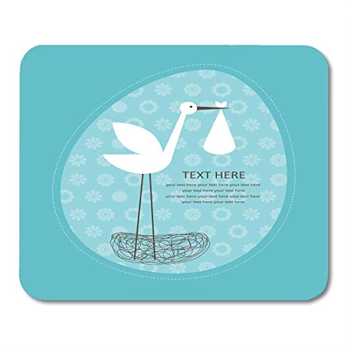 Nakamela Mouse Pads Abstract Blue Birth Baby Boy Announcement Nest Arrival Mouse mats 9.5
