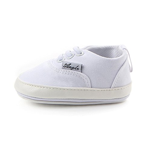 Huluwa Baby Shoes Non-slip First Walking Shoes, Rubber Sole Canvas Shoes for Baby Boys Girls, Safe and Comfort, White