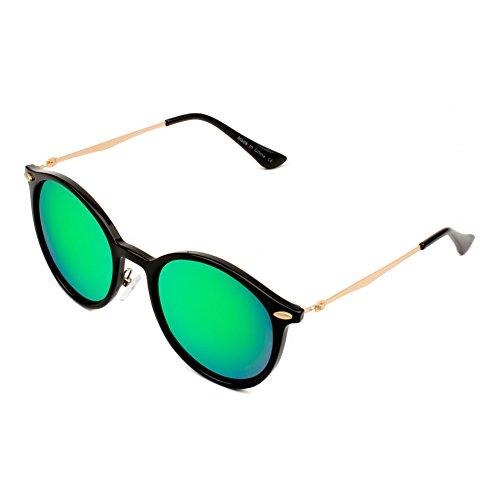 Cramilo Retro Horn Rimmed Keyhole Nose Bridge Mirrored Round Sunglasses Green (Cheap Sunglassses)