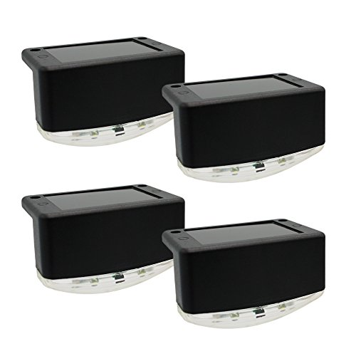 DaVinci Solar Lights - Outdoor Light for Deck Post Fence Step or Dock - Bright Warm White LED Lighting, Waterproof, Wireless, Slate Black (4 Pack) (Post Solar Steel)